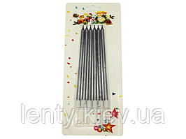Свічки Довгі (6 штук) Срібло/Срібний/Серебристый_металлик