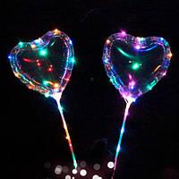 Шарики надувные светящиеся MK 2075-2 BOBO, сердце,  свет, гирлянда 3м