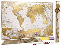 🔝 Скретч карта мира, My Map Antique edition, карта путешествий, ENG , Игры, сувениры, подарки, товары для детей