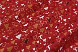 """Лоскут  ткани с глиттерным рисунком """"Густые ёлки и олени"""" белые, золотистые на красном, №2484, фото 3"""