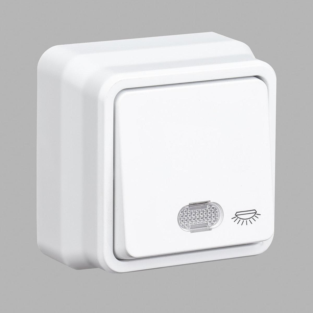 Кнопка контроля освещения GUNSAN Misya с подсветкой наружная Белая