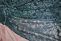 Ткань гипюр, стрейч , цвет бутылка. густой серебряный  шимер  серого цвета .  № 636, фото 1