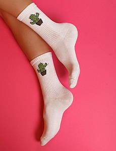 """Ароматизированные носки белые с принтом """"Кактус"""""""
