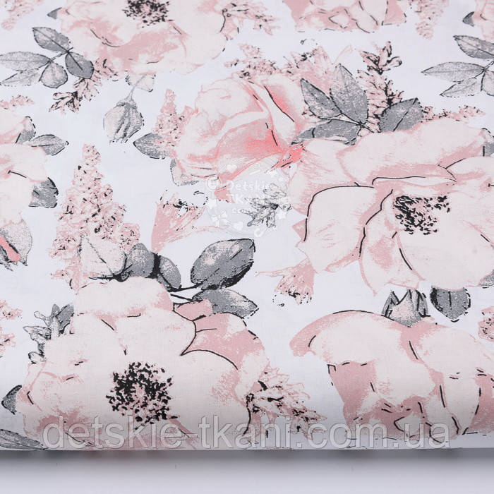 """Лоскут ткани """"Дикие розы"""" пудровые на белом № 2392, размер 28*80"""