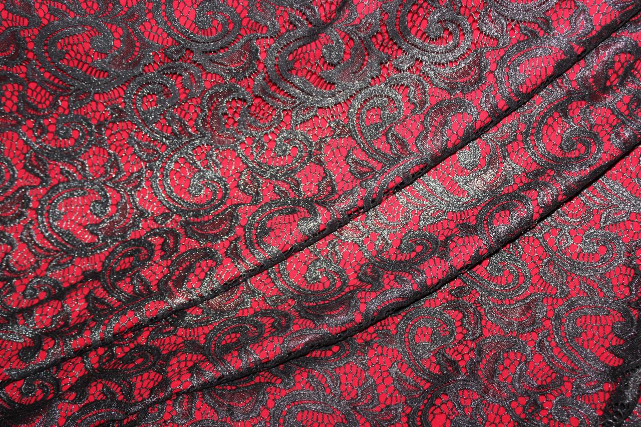 Ткань гипюр, стрейч , цвет черный. густой серебряный  шимер  серого цвета .  № 638, фото 1