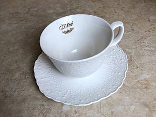 Чашка з стравою біла Maison Chic біла керамічна
