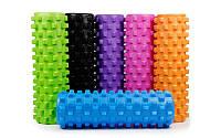 Роллер массажный (Grid Roller) для йоги, пилатеса, фитнеса (d-14,5 см, l-45 см, цвета в ассортименте), фото 1