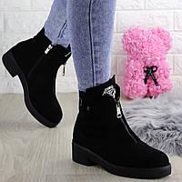Ботинки женские зимние замшевые черные