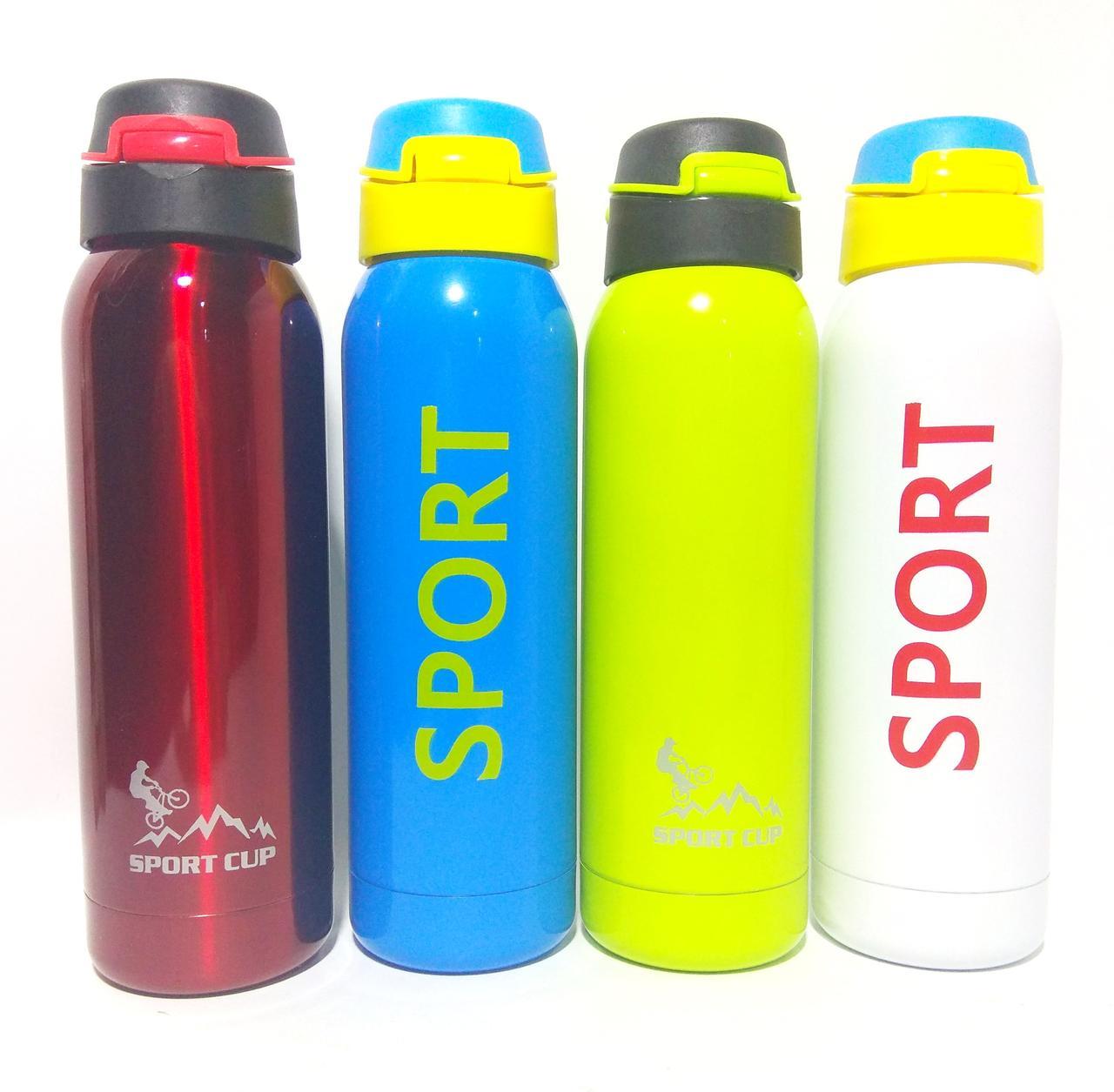 Термос Салатовый спортивный стальной вакуумный с трубочкой 0,5L Бутылка термос с ремешком EL-564-4