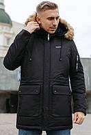 Мужская зимняя тёплая куртка Sun's House Alaska рост: Long размер: L Черный (арт. B-216)
