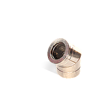 Версия-Люкс (Кривой-Рог) Колено 45, утепленное нержавейка, толщина 0,5 мм, диаметр 125мм