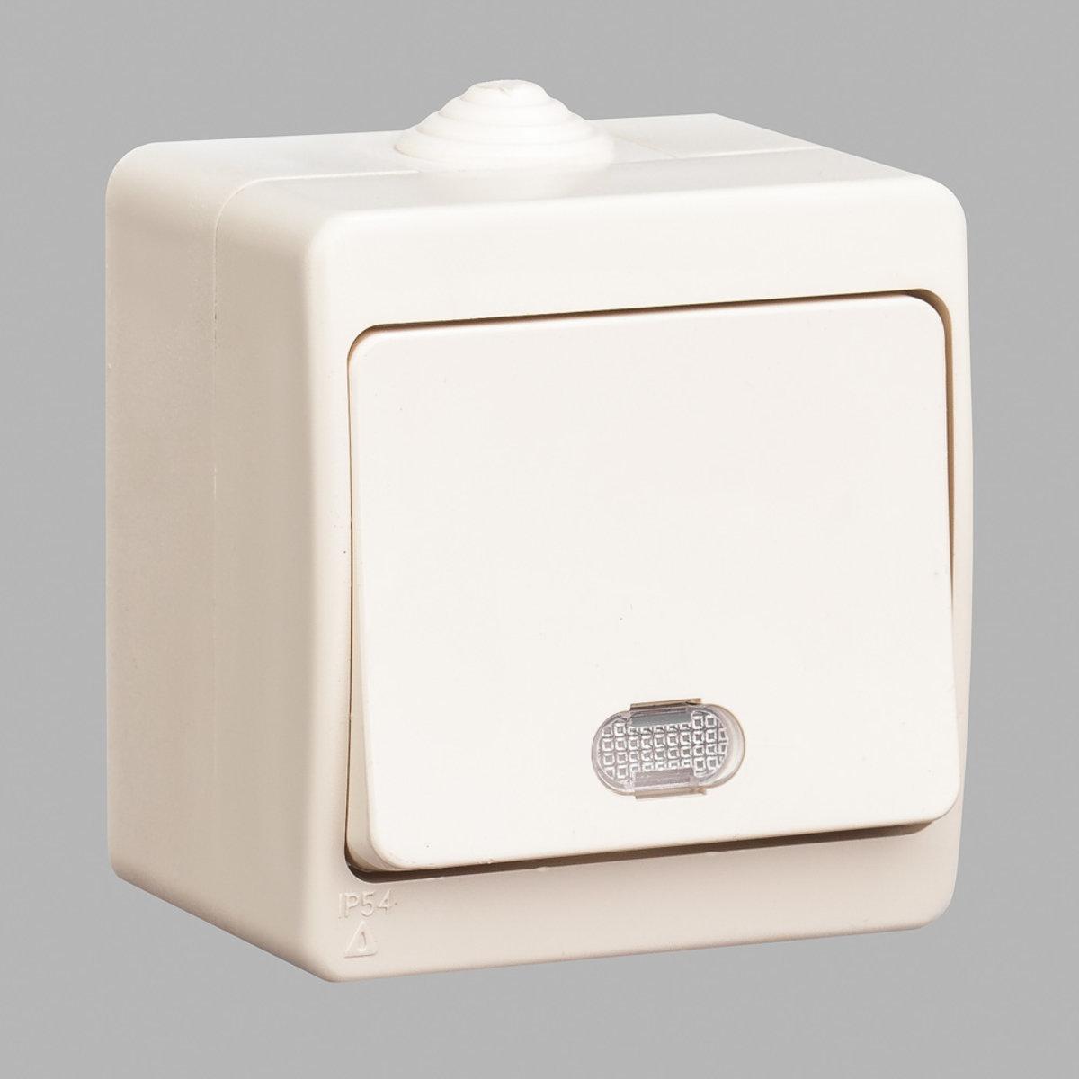 Nemli вимикач 1-ий з підсвічуванням вологозахищений кремовий