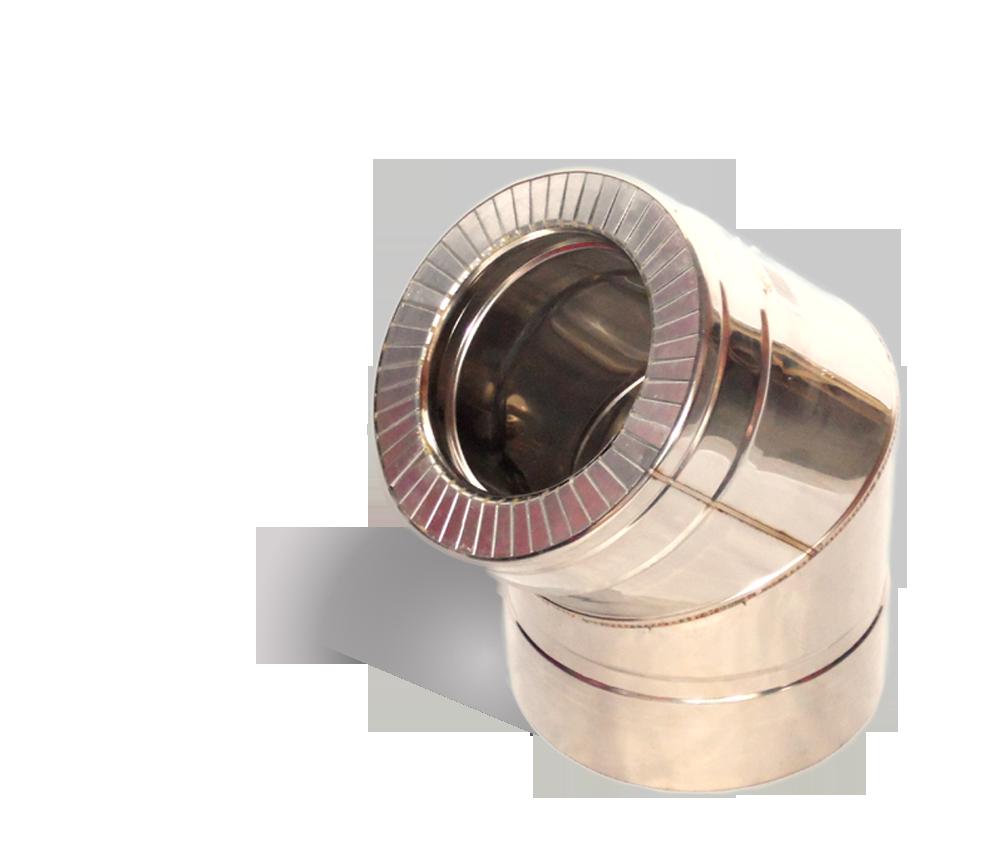 Версия-Люкс (Кривой-Рог) Колено 45, утепленное нержавейка, толщина 0,5 мм, диаметр 200мм