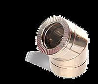 Версия-Люкс (Кривой-Рог) Колено 45, утепленное нержавейка, толщина 0,5 мм, диаметр 250мм