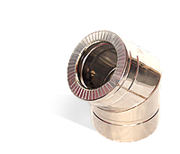 Версия-Люкс (Кривой-Рог) Колено 45, утепленное нержавейка, толщина 0,5 мм, диаметр 300мм