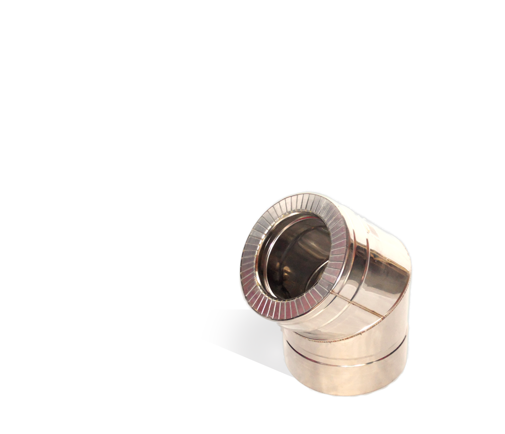 Версия-Люкс (Кривой-Рог) Колено 45, утепленное нержавейка, толщина 0,8 мм, диаметр 100мм