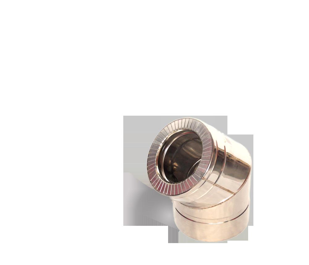 Версия-Люкс (Кривой-Рог) Колено 45, утепленное нержавейка, толщина 0,8 мм, диаметр 125мм