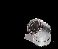 Версия-Люкс (Кривой-Рог) Колено 45, утепленное нерж/оцинк, толщина 0,5 мм, диаметр 140мм