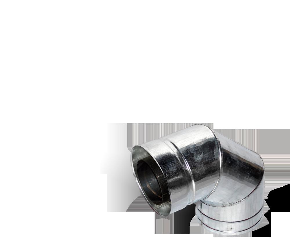 Версия-Люкс (Кривой-Рог) Колено 90, утепленное нерж/оцинк, толщина 0,5 мм, диаметр 140мм