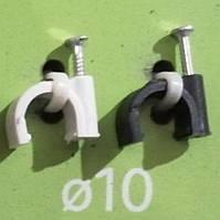 Кліпса Lectris Ø10мм для круглого кабелю з цвяхом чорна, 100шт
