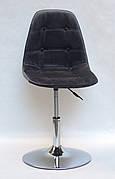 Стілець поворотний на одній ніжці регульований Alex CH-Base Оксамит , сірий-3
