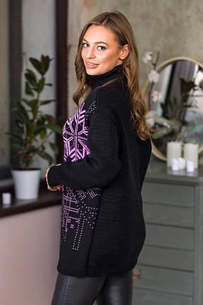 Теплый свитер со снежинками «Сказка» (черный, сирень)  Универсальный размер 44-52, фото 2