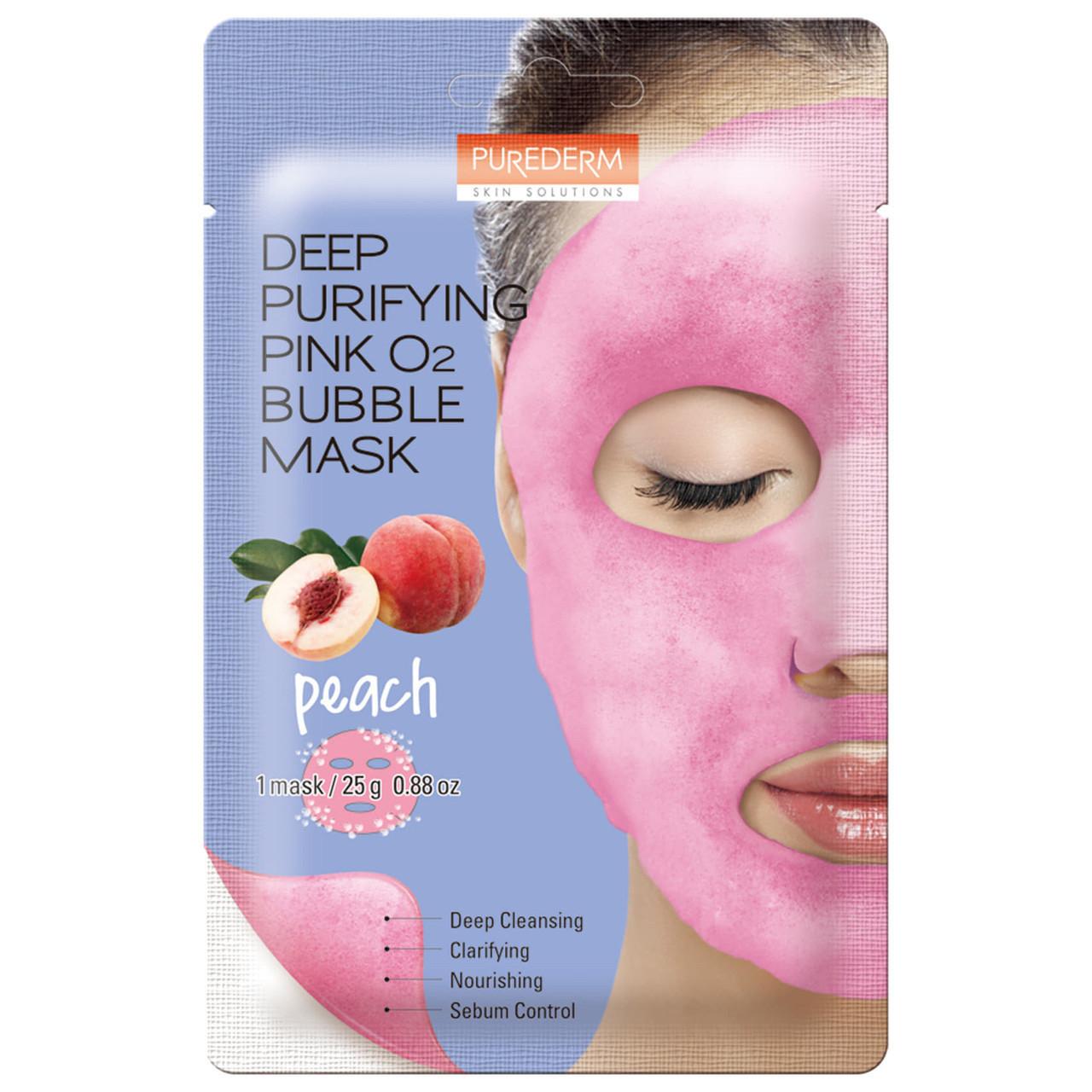 Киснева тканинна маска з екстрактом персика Purederm Deep Purifying Pink O2 bubble mask Peach