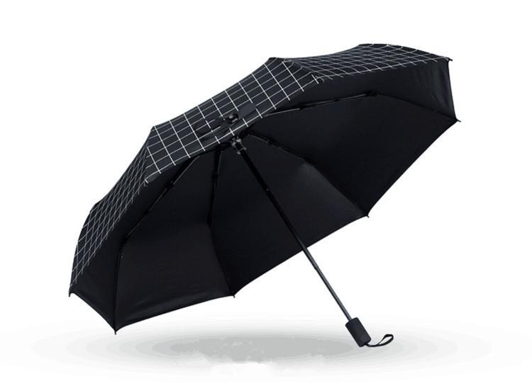 Чёрный зонт в клетку AL170019