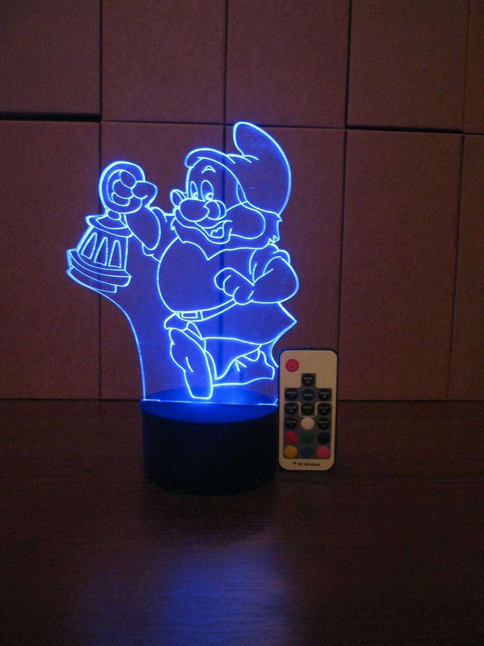 3d-светильник Гномик с фонарем, 3д-ночник, несколько подсветок (на пульте), подарок ребенку