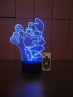 3d-светильник Гномик с фонарем, 3д-ночник, несколько подсветок (на пульте)