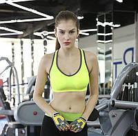 """Женский спортивный топ для фитнеса, йоги """"FitnessYoga"""" удобный яркий (салатовый), фото 1"""