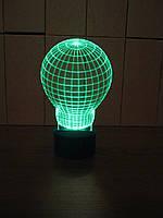 3d-светильник Лампочка, 3д-ночник, несколько подсветок (батарейка+220В)