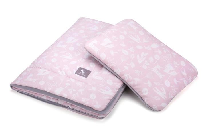 Плед с подушкой Cottonmoose Cotton Velvet 408/129/117 розовый (лес) с серым (бархат)