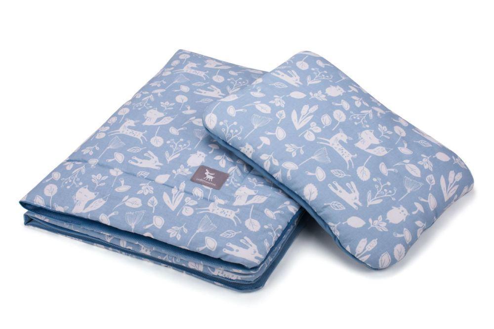 Плед с подушкой Cottonmoose Cotton Velvet 408/128/120 forest azure cotton velvet azure (лазурный (лес) с лазурным (бархат))
