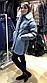 Женская куртка из эко-меха под каракуль голубая, фото 3