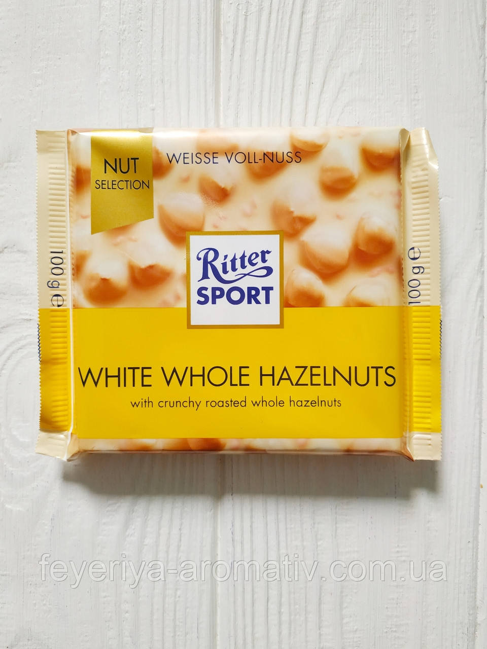 Шоколад Ritter Sport 100гр. (Германия) White Whole Hazelnuts (белый с цельным фундуком)