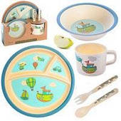 Посуда детская N02329 бамбук 5 приборов (2 тарелки, вилка, ложка, стакан)