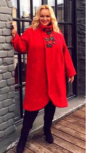 Пальто из букле с вышивкой DARKWIN (Турция)  52 54 56 58 60 62 64 р красный