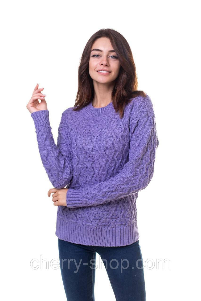 Модный женский джемпер с аранами в размере 44,46