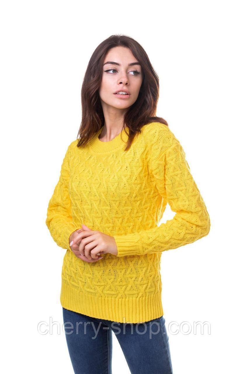 Яркий ,желтый женский джемпер с аранами