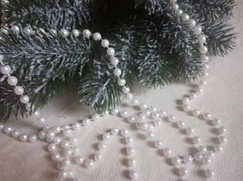 Новогодние Бусы 8 мм, белый жемчуг.