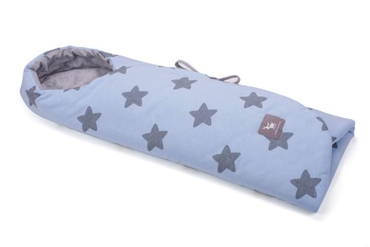 Конверт в коляску и автокресло Cottonmoose ODWF 439/26/49 голубой (звезды) с серым меланж
