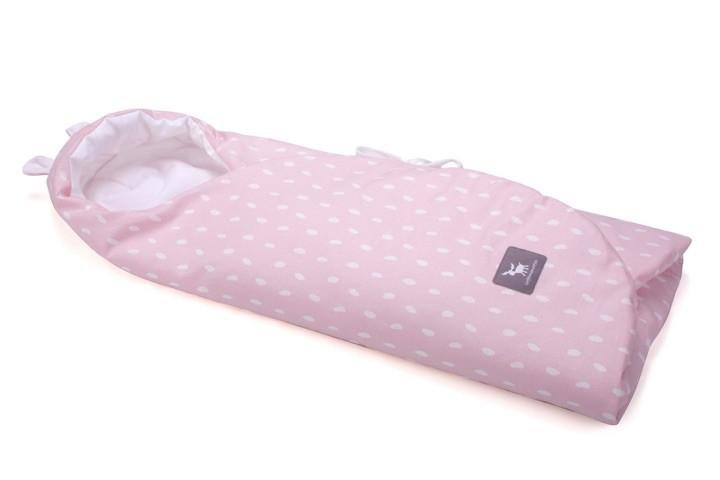 Конверт в коляску и автокресло Cottonmoose ODWF 439/132/51 розовый (капли) с белым