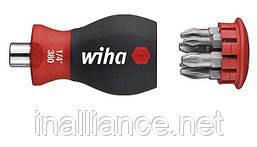 Отвертка укороченная с магнитным держателем бит и битами PH / PZ Stubby SoftFinishWiha 33740