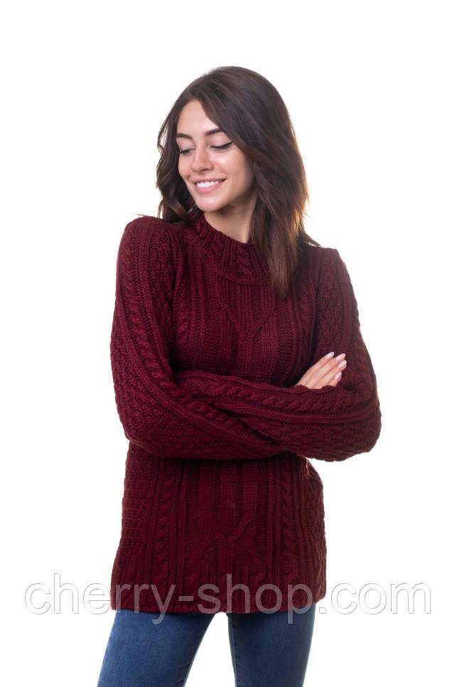 Обьемный свитер женский с косами