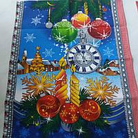 Готовое вафельное полотенце Новогоднее с часами и елочными шарами, 47х60 см