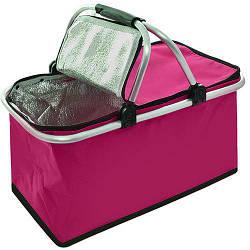Термокорзина для пикника MH-3078 21х24х44 см, розовая