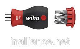 Отвертка укороченная с магнитным держателем бит и битами PZ / SL Slotted (шлиц) Stubby SoftFinishWiha 33764