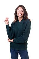 Бутылочный женский свитер с английской резинкой