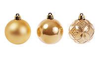 🔥 Распродажа! Набор елочных шаров 6см, цвет - золото перламутр, 6 шт